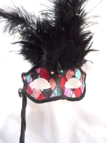 Harlequin feathered Stick Mask (c)